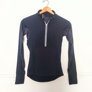 Athleta navy plush tech half zip pullover
